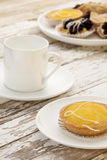 Lemon tart and coffee Stock Photos