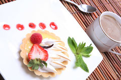 Lemon tart with coffee Royalty Free Stock Image