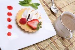 Lemon tart with coffee Royalty Free Stock Image