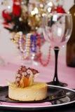 Lemon tart decorated on pink and black Royalty Free Stock Photos