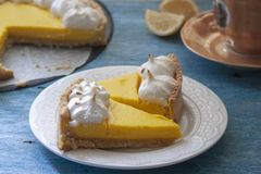 Lemon tart with nerengue on the top royalty free stock photography