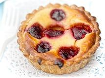 Lemon tart with raspberries Royalty Free Stock Photos