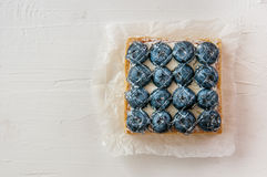 Lemon Tart and tartlets with fresh blueberries. Tart with lemon curd and fresh blueberry, top view Stock Photo