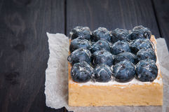 Lemon Tart and tartlets with fresh blueberries. Tart with lemon curd and fresh blueberry, top view Royalty Free Stock Photos