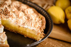 Lemon tart with toasted meringue top Royalty Free Stock Images