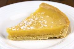 Lemon Tart on a White Plate Stock Photography