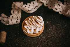 Lemon tartlet with meringue royalty free stock image