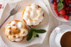Lemon tartlet with meringue and summer berries close-up. horizon Stock Photo