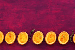 Lemon tartlets with thyme on fuchsia color background. Mini lemon tartlets with thyme with empty space on hot pink background royalty free stock photography