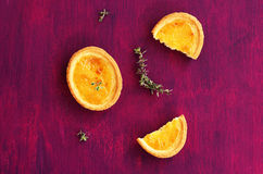 Lemon tartlets with thyme Stock Photo