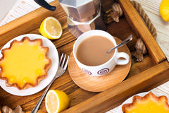 Lemon tarts and coffee Royalty Free Stock Image