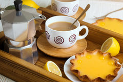 Lemon tarts and coffee Royalty Free Stock Photography