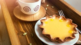 Lemon tarts and coffee Royalty Free Stock Photos
