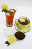 Lemon Tea. A background of lemon tea along with its ingredients Stock Photo