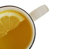Lemon tea. Tea cup with lemon view from abow stock photography