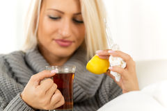 Lemon And  Tea Against Colds Royalty Free Stock Photo