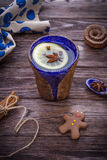 Lemon tea with aromatic spices homemade gingerbread man cookie Stock Images