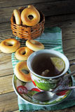 Lemon tea and bagels Royalty Free Stock Photo