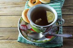 Lemon tea and bagels Royalty Free Stock Image