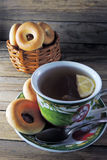 Lemon tea and bagels Stock Images