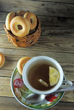 Lemon tea and bagels Stock Image