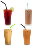 Lemon tea, Chocolate milk, Ice coffee, and Ice milk tea. Sweet drink isolated on white background Stock Image