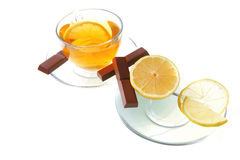 Lemon tea and chocolate strips Stock Photography