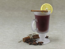 Lemon tea with cinnamon. On grey background Stock Images