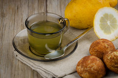 Lemon tea and cookies Royalty Free Stock Image