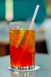 Lemon tea. Cool tea with ice lemon lame stock photos