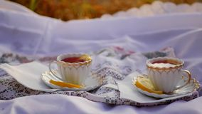 Lemon tea in cups. Two cups of tea are on skatertet outdoors at sunset 1920x1080. hd stock video footage