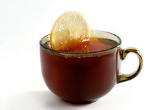 Lemon with tea Stock Photo