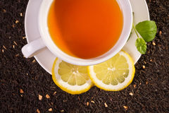 Lemon tea and fresh leaves Royalty Free Stock Photography