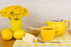 Lemon tea, fruit candy and honey Stock Images