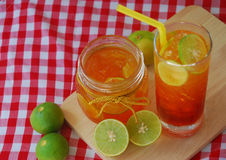 Lemon tea in a glass Stock Photography