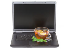 Lemon Tea with laptop Royalty Free Stock Photo