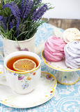 Lemon tea and marshmallow Stock Image
