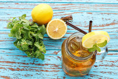 Lemon tea mint fresh drink summer refreshment still life Stock Photo