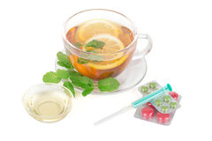 Lemon Tea and Pills Stock Photography