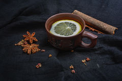 Lemon tea and spices Royalty Free Stock Photos