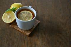 Lemon tea. On wood blackground Stock Photo