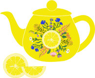 Lemon teapot with herbs and lemon Stock Images