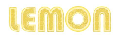 Lemon - text of slices of citrus fruit Stock Images
