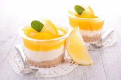 Lemon tiramisu or cheesecake Stock Photos