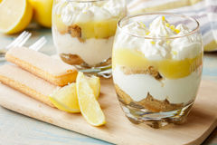Lemon tiramisu in a glass royalty free stock photography