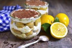 Lemon tiramisu - traditional italian dessert. Stock Photography