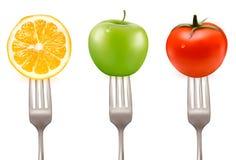 Free Lemon, Tomato And Apple On Forks Stock Image - 25834901