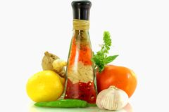 Lemon and tomato with spice Royalty Free Stock Images