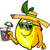 Lemon tourist holding a drink Royalty Free Stock Images