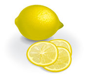 Lemon and transparent slices Stock Photos